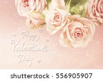 floral background with cream... | Shutterstock . vector #556905907
