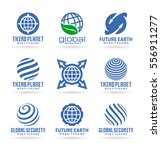 set of vector earth icons ... | Shutterstock .eps vector #556911277