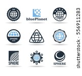 set of vector earth icons ... | Shutterstock .eps vector #556911283