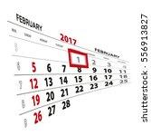february 1  highlighted on 2017 ... | Shutterstock .eps vector #556913827