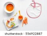 cooking vegetable puree for... | Shutterstock . vector #556922887