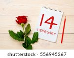 Small photo of 14 february, tear-off calendar with red rose