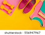 athlete's set with female... | Shutterstock . vector #556947967