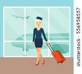 young stewardess with suitcase... | Shutterstock .eps vector #556958557