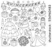 quinceanera doodle set on white ... | Shutterstock .eps vector #556960483