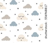 sleepy clouds seamless kid... | Shutterstock .eps vector #556968817
