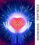 heart in open hands with... | Shutterstock .eps vector #556978213