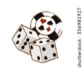 pair of dices and casino chip... | Shutterstock .eps vector #556981927