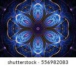 blue flower shaped fractal... | Shutterstock . vector #556982083