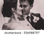 groom aand bride black and... | Shutterstock . vector #556988797