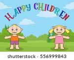 funny cartoon children on... | Shutterstock .eps vector #556999843