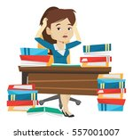 stressed student studying with... | Shutterstock .eps vector #557001007