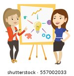 two caucasian students... | Shutterstock .eps vector #557002033