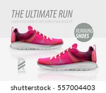 vector running shoes ad product ... | Shutterstock .eps vector #557004403