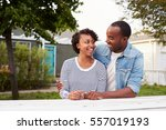 african american couple outside ... | Shutterstock . vector #557019193