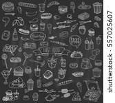 hand drawn doodle fast food...   Shutterstock .eps vector #557025607