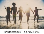 multi ethnic group of friends... | Shutterstock . vector #557027143