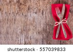 table set with red napkin. fork ...   Shutterstock . vector #557039833