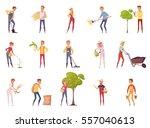 farmer gardener cartoon people... | Shutterstock .eps vector #557040613
