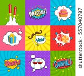 party comic labels set with fun ...   Shutterstock .eps vector #557040787