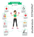 woman healthy lifestyle... | Shutterstock .eps vector #557043967