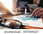 businessman documents on office ... | Shutterstock . vector #557044327