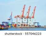 port cargo crane and container... | Shutterstock . vector #557046223