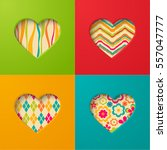 paper cards with heart. vector... | Shutterstock .eps vector #557047777