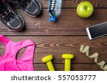 fitness background with sport...   Shutterstock . vector #557053777