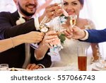 guests clang their glasses with ... | Shutterstock . vector #557066743