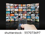 Small photo of Multimedia video wall television broadcast. multimedia wall television video broadcast advertising background broadcasting concept