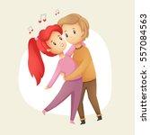 cute love couple dancing. happy ...   Shutterstock .eps vector #557084563