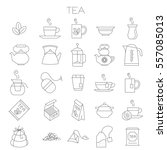 thin line flat design tea menu... | Shutterstock .eps vector #557085013