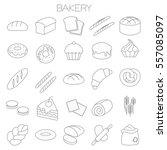 thin line flat design bakery... | Shutterstock .eps vector #557085097