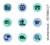 set of 9 simple contact icons.... | Shutterstock .eps vector #557086117