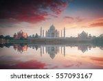 taj mahal . white marble... | Shutterstock . vector #557093167