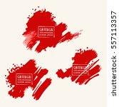 vector set of blood red brush... | Shutterstock .eps vector #557113357