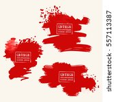 vector set of blood red brush... | Shutterstock .eps vector #557113387