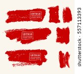 vector set of blood red brush... | Shutterstock .eps vector #557113393