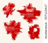 vector set of blood red brush... | Shutterstock .eps vector #557113417