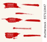 vector set of blood red brush... | Shutterstock .eps vector #557113447