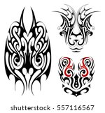 tribal art tattoo set in maori... | Shutterstock .eps vector #557116567