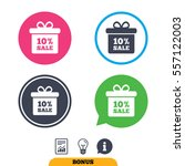 10  sale gift box tag sign icon....   Shutterstock .eps vector #557122003