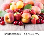 close up of fresh fruits on... | Shutterstock . vector #557138797