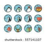 flat style icons with penguins... | Shutterstock .eps vector #557141107