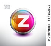 letter z in 3d glossy button... | Shutterstock .eps vector #557163823
