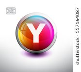letter y  in 3d glossy button... | Shutterstock .eps vector #557164087