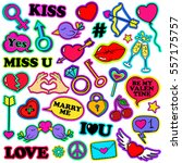 colorful funny set of love... | Shutterstock .eps vector #557175757