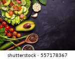 ingredients for making salad on ... | Shutterstock . vector #557178367