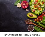 ingredients for making salad on ... | Shutterstock . vector #557178463
